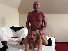 Old Youthfull Blonde blowjob and xxx boink from grandpa