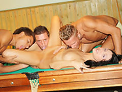 Dark-Haired plowed rock-hard on the pool table