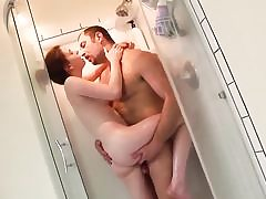 Small jugged teen rock hard fucks in bathroom
