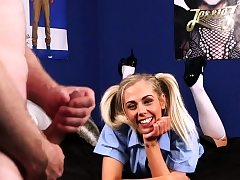 Clothed teen gives head