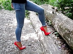 Extraordinary heels and jeans, my gorgeous legs,walk in the woods