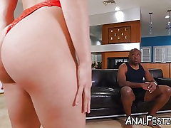 Succubus Abella Danger blows before interracial anal invasion
