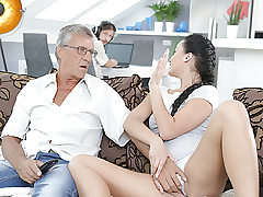 DADDY4K. Cum shot in mouth culminates adorable sex of daddy and..
