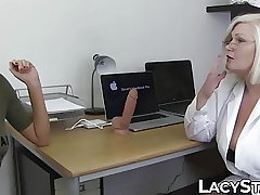 Doctor Lacey Starr explores 18yo with tongue and toys
