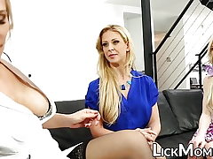 Sapphic blonde slobbers daughter-in-law fuckbox in approach