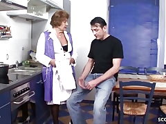 German Antique Granny Seduce to Shag by Young Guy in Kitchen