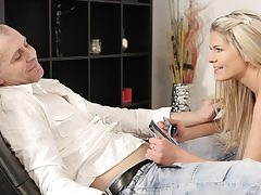 Splendid chick and senior father have outstanding bang-out on small daybed