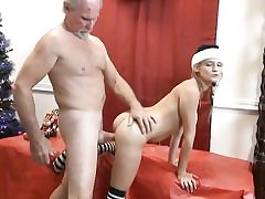 Older man gets christmas surprise - young fuckbox