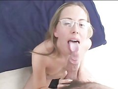 Nerdy ash-blonde in glasses deep-throats and nails cock