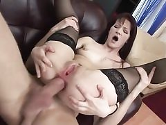 Youthful anal honey in tights gets anal poke