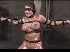 Wild whore gets tight up and covered in lube about to get sexually abused