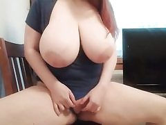 Redhead with meaty tits rubbing her twat fuck-hole on the camera