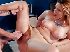Blonde office girl indeed likes getting her pussy nailed hard