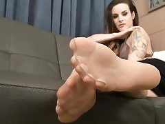 Posh breezy in her nylon stockings flashes them on camera temptingly